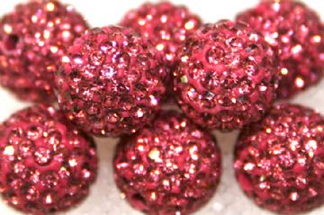 10mm Pink 115 Stone  Pave Crystal Beads- Half Drilled PCBHD10-115-006